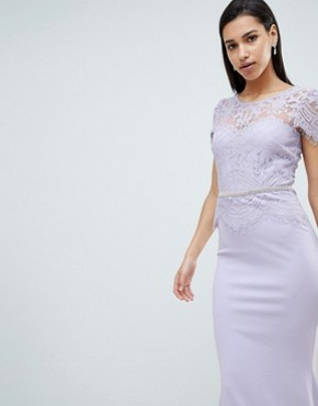 photo Lace Belted Fishtail Maxi Dress by City Goddess, color Lilac - Image 3