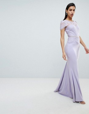 photo Lace Belted Fishtail Maxi Dress by City Goddess, color Lilac - Image 4