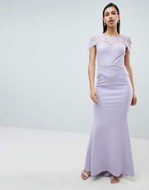photo Lace Belted Fishtail Maxi Dress by City Goddess, color Lilac - Image 1
