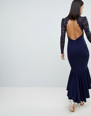 photo Long Sleeve High Neck Fishtail Maxi Dress with Lace Detail by City Goddess, color Navy - Image 2