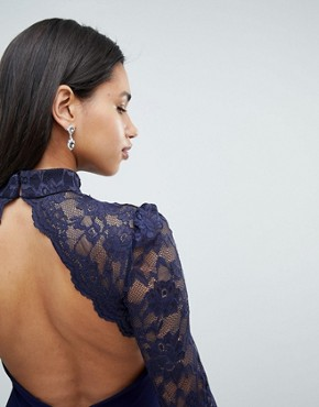 photo Long Sleeve High Neck Fishtail Maxi Dress with Lace Detail by City Goddess, color Navy - Image 3