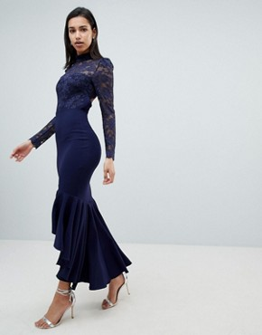 photo Long Sleeve High Neck Fishtail Maxi Dress with Lace Detail by City Goddess, color Navy - Image 4
