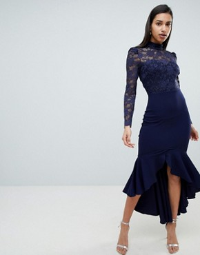 photo Long Sleeve High Neck Fishtail Maxi Dress with Lace Detail by City Goddess, color Navy - Image 1