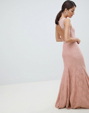 photo Lace Maxi Dress with Satin Belt by City Goddess, color Blush Pink - Image 2