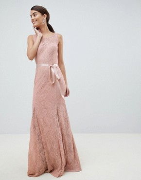 photo Lace Maxi Dress with Satin Belt by City Goddess, color Blush Pink - Image 1