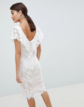 photo Lace Pencil Dress with Frill Overlay by City Goddess, color White - Image 2