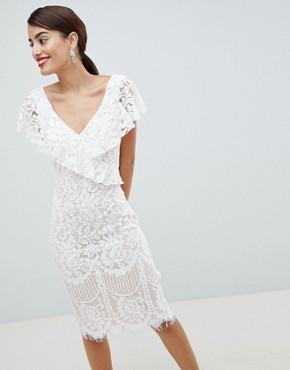 photo Lace Pencil Dress with Frill Overlay by City Goddess, color White - Image 1