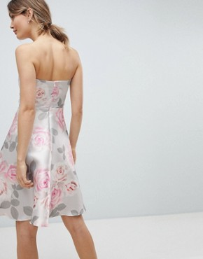 photo Prom Floral Skater Dress by City Goddess, color Grey Base Print - Image 2
