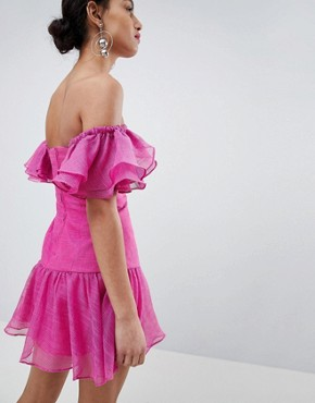 photo Ruffle Mini Dress by Keepsake, color Fuchsia - Image 2