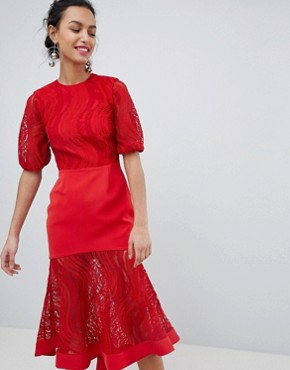 photo Lace Midi Dress in Ruby Red by Keepsake, color Ruby Red - Image 1