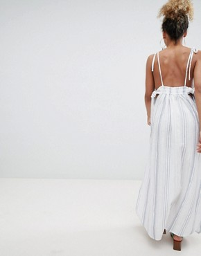 photo Natural Stripe Maxi Beach Dress by ASOS DESIGN Petite, color White/Blue - Image 2