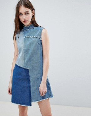 photo Christa Patchwork High Neck Denim Dress by Waven, color Old Used Blue - Image 1