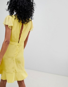 photo Ruffle Mini Dress with Floral Embroidery by Cleobella, color Chartreuse - Image 2