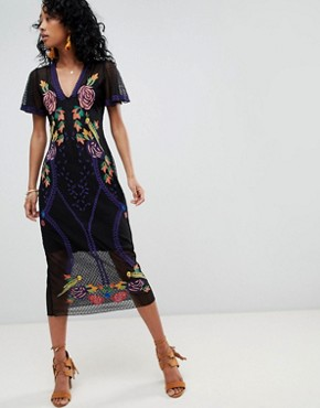 photo Lace Midi Dress with Floral Embroidery by Cleobella, color Multi - Image 1