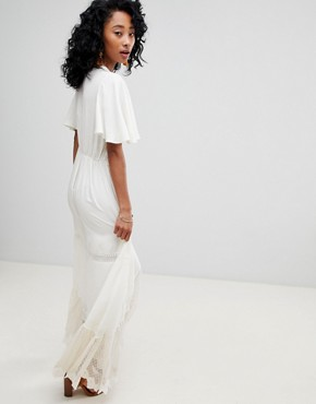 photo Boho Lace and Mesh Maxi Dress by Cleobella, color Ivory - Image 2