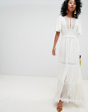 photo Boho Lace and Mesh Maxi Dress by Cleobella, color Ivory - Image 1