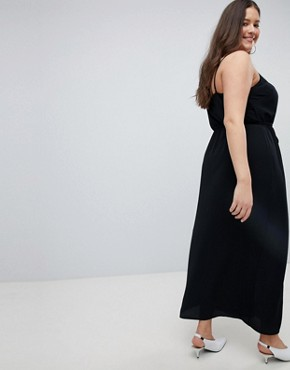 photo Button Through Maxi Dress by New Look Curve, color Black - Image 2