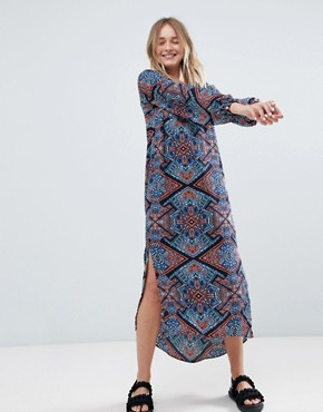 photo Long Sleeve Printed Midi Dress by Monki, color Multi - Image 1