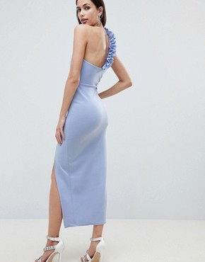 photo Ruffle One Shoulder Scuba Maxi Dress by ASOS DESIGN, color Blue - Image 2