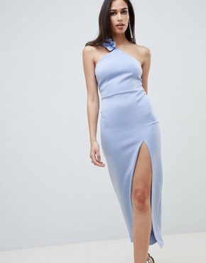 photo Ruffle One Shoulder Scuba Maxi Dress by ASOS DESIGN, color Blue - Image 1