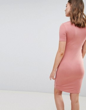 photo Twist Front Bodycon Dress by New Look Maternity, color Coral - Image 2