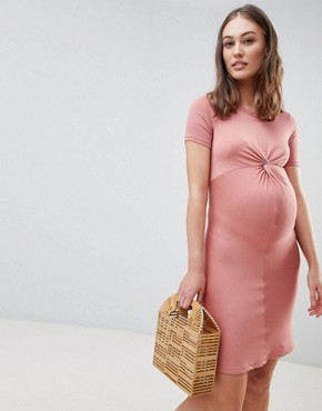 photo Twist Front Bodycon Dress by New Look Maternity, color Coral - Image 1