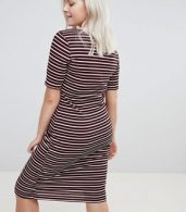 photo Stripe Bodycon Dress by New Look Curve, color Black Pattern - Image 2