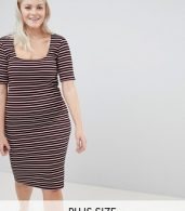 photo Stripe Bodycon Dress by New Look Curve, color Black Pattern - Image 1