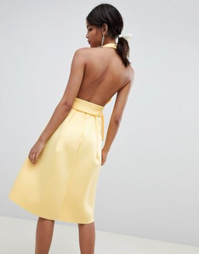 photo Halter Plunge Belted Prom Dress by ASOS DESIGN, color Sunshine - Image 2