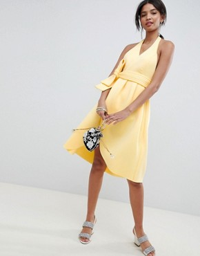 photo Halter Plunge Belted Prom Dress by ASOS DESIGN, color Sunshine - Image 1