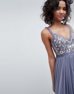 photo Embroidered Bodice Cami Strap Maxi Dress in Vintage Navy by Needle & Thread, color Vintage Navy - Image 3