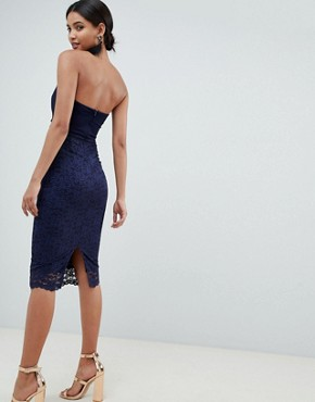 photo Bandeau Twist Front Midi Dress with Lace Skirt by ASOS DESIGN, color Navy - Image 2