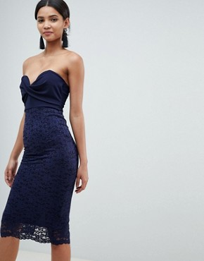 photo Bandeau Twist Front Midi Dress with Lace Skirt by ASOS DESIGN, color Navy - Image 1