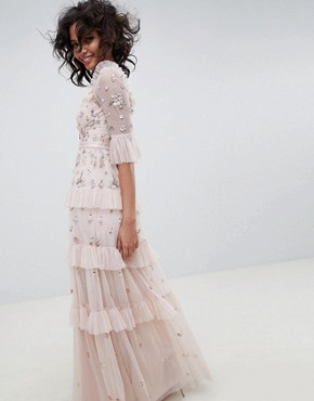 photo Embroidered Maxi Gown in Rose by Needle & Thread, color Rose Quartz - Image 2