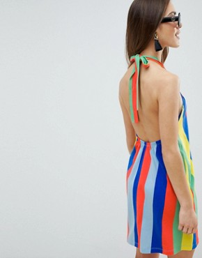 photo Twist Halterneck Swing Sundress in Rainbow Stripe by ASOS DESIGN Petite, color Multi - Image 2