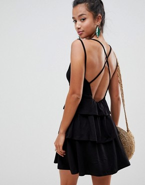 photo Strappy Mini Sundress with Tier and Ladder Trim by ASOS DESIGN Petite, color Black - Image 2