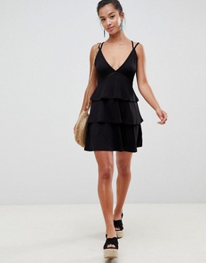 photo Strappy Mini Sundress with Tier and Ladder Trim by ASOS DESIGN Petite, color Black - Image 4