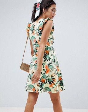 photo Maternity Frill Sleeve Button Front Sundress in Tropical Print by ASOS DESIGN, color Multi - Image 2