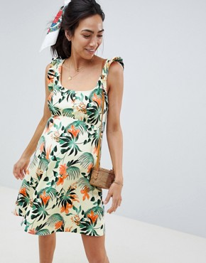 photo Maternity Frill Sleeve Button Front Sundress in Tropical Print by ASOS DESIGN, color Multi - Image 1