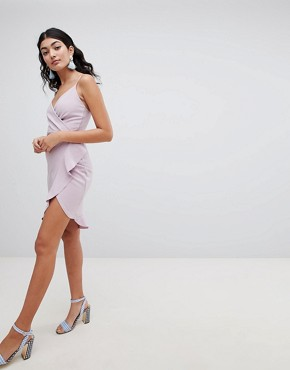 photo Cami Wrap Dress by PrettyLittleThing, color Lilac - Image 4