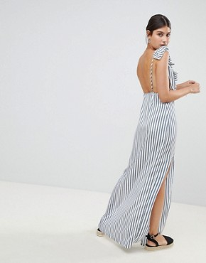 photo Striped Plunge Maxi Dress by PrettyLittleThing, color White And Blue - Image 2
