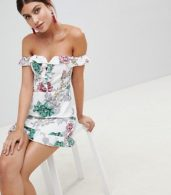 photo Bardot Floral Dress by PrettyLittleThing, color White - Image 1