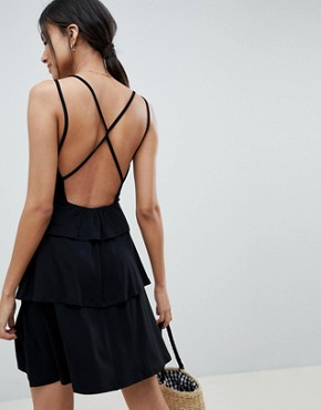 photo Strappy Mini Sundress with Tier and Ladder Trim by ASOS DESIGN Tall, color Black - Image 2