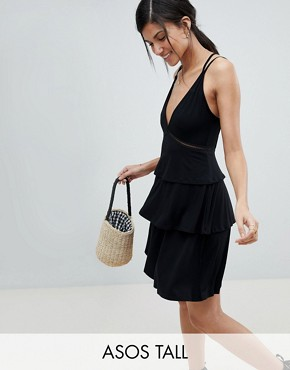 photo Strappy Mini Sundress with Tier and Ladder Trim by ASOS DESIGN Tall, color Black - Image 1