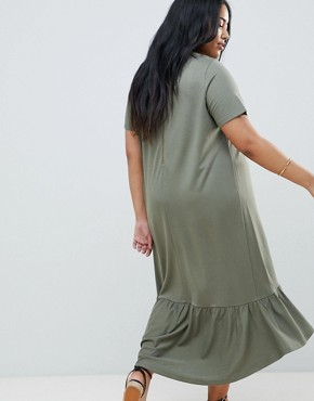 photo Midi t-shirt Dress with Drop Hem by ASOS DESIGN Curve, color Khaki - Image 2