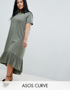 photo Midi t-shirt Dress with Drop Hem by ASOS DESIGN Curve, color Khaki - Image 1