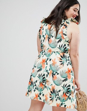 photo Frill Sleeve Button Front Sundress in Tropical Print by ASOS DESIGN Curve, color Multi - Image 2