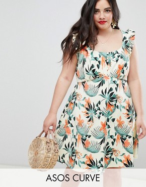 photo Frill Sleeve Button Front Sundress in Tropical Print by ASOS DESIGN Curve, color Multi - Image 1