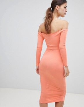 photo Bow Front Cut Out Midi Dress by ASOS DESIGN, color Papaya - Image 2