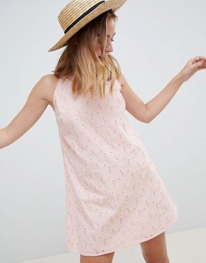 photo Low Back Mini Sundress in Heart Broderie by ASOS DESIGN Petite, color Washed Pink - Image 2
